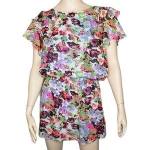 BCBG MaxAzria Abstract Floral Neon Mini Dress